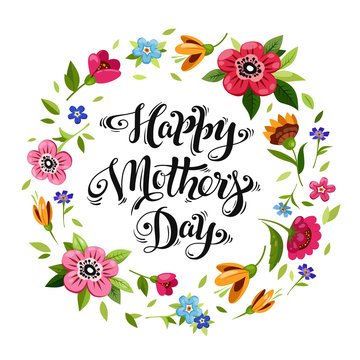 Happy Mothers Day card with calligraphy and flower