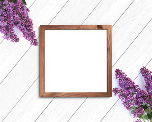 Wooden frame mockup on a painted white background. 1x1 Square