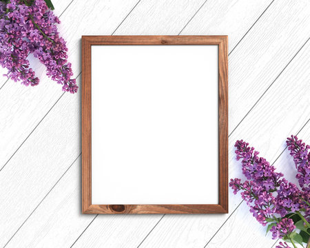 Wooden frame mockup on a painted white background. 4x5 Vertical Portrait