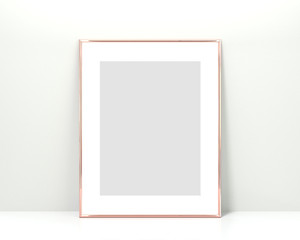 Rose gold frame mockup on a white background. 3x4 Vertical, Portrait 3d Rendering