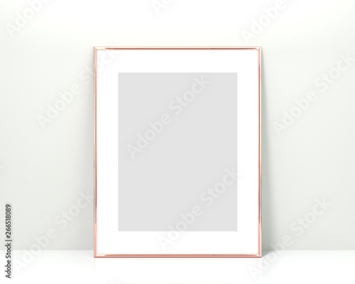 Rose gold frame mockup on a white background  3x4 Vertical