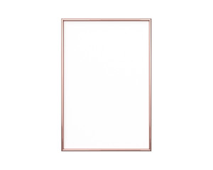 A4 Rose gold frame mockup on a white background. 2x3 Vertical, Portrait 3d Rendering