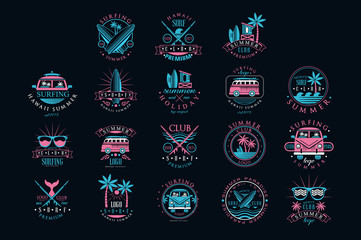 Vector set of vintage logos for surfing club. Creative emblems with surfboards, sunglasses, vans and palm trees. Hawaii, summer time