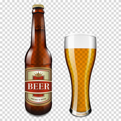 Beer bottle and glass, isolated on transparent background.