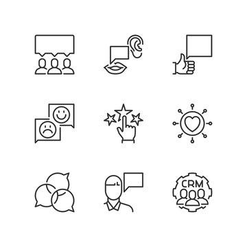 Outline icons. Customer testimonials