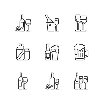Outline icons. Drinks. Wine and beer