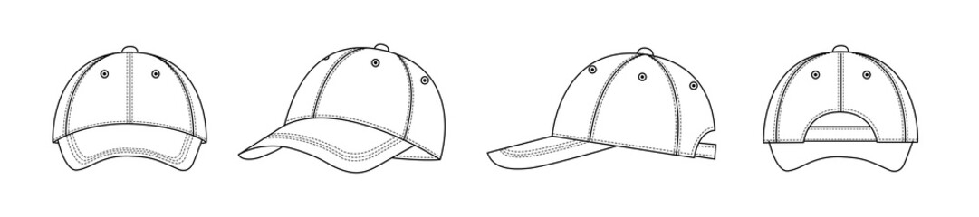 Front, back, side fashion illustration of baseball cap / hat