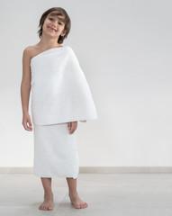 Full body kid with Hajj pilgrimage clothes