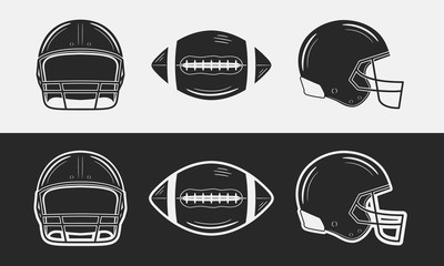 American football set. Football helmets, front and side views. Football ball. Black and white. Vintage design elements. Vector illustration