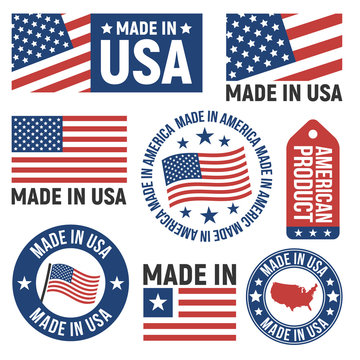 Made in USA labels, badges, signs. USA flag icons. Americans emblems templates. Vector illustration.