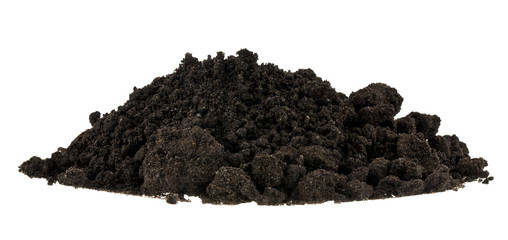 Pile of soil isolated on white background close up. Pieces of dirt, lumps. Fototapete