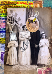 Spoed Fotobehang Imagination Scrapbooks and macabre and surreal collages with drawings and old vintage photographs