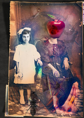 Keuken foto achterwand Imagination Scrapbooks and macabre and surreal collages with drawings and old vintage photographs