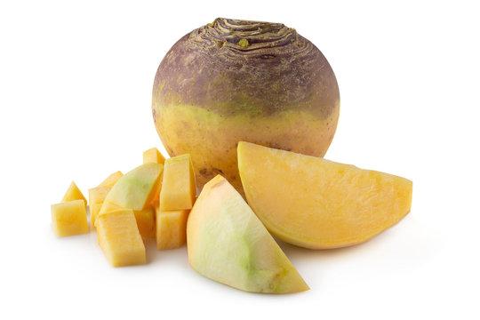 Fresh Turnip Swede isolated over white background.