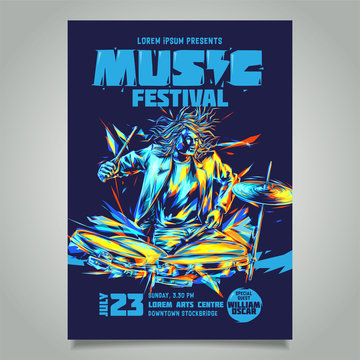 Vector template for a concert poster or a flyer featuring a musician playing drum