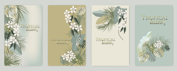 Vector tropical jungle set cover with palm trees and leaves in olive green colors