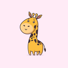 Cute kawaii giraffe animal vector cartoon illustration