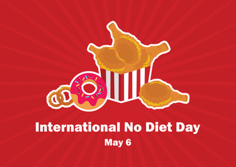 International No Diet Day vector. Fast food vector illustration. Junk Food icon set. Important day