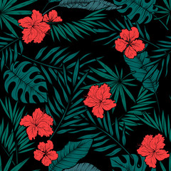 Tropical leaves seamless pattern, vector