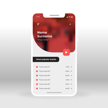 Red music player UI, UX, GUI screen for mobile apps design. Modern responsive user interface design of mobile applications including Music tracks screen
