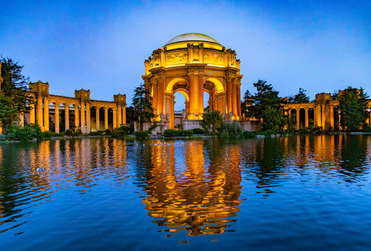 The Palace of Fine Arts in the Marina district by night, San Francisco