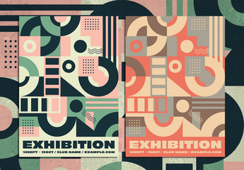 Vintage Abstract Flyer Layout with Colorful Geometric Pattern