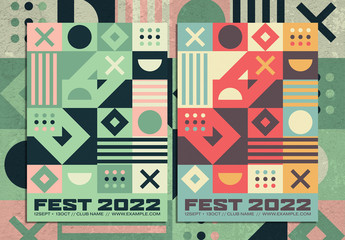 Retro Abstract Geometric Poster Layout with Colorful Decorative Squares