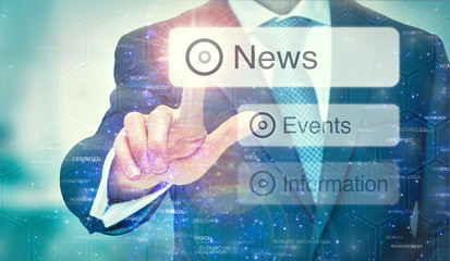 A business man selection a News button on a futuristic display with a concept written on it.