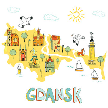 Hand drawn illustrated map of Gdansk.