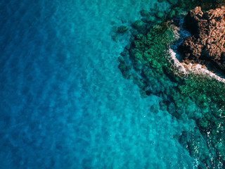 Garden Poster Cyprus Aerial Rocky sea shore with crystal clear blue water, Cyprus, Blue Lagoon