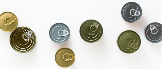 banner of cans on a white background. view from above. copy space