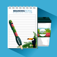 tropical design with notebook and plastic coffee cup