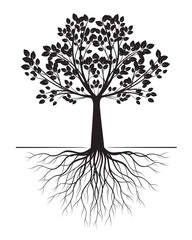 Black Tree with Roots on white background. Vector Illustration.