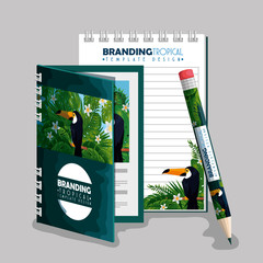tropical notebooks with pencil product style