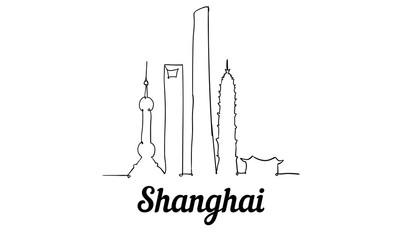 Fototapete - One line style Shanghai skyline. Simple modern minimaistic style vector.