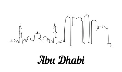 Fototapete - One line style Abu Dhabi skyline. Simple modern minimaistic style vector.