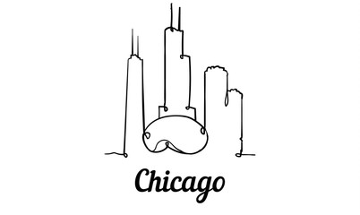 Fotomurales - One line style Chicago skyline. Simple modern minimaistic style vector.