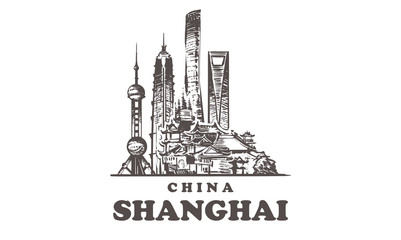Fotomurales - Shanghai sketch skyline. China, Shanghai hand drawn vector illustration.