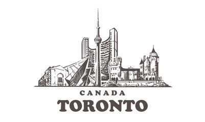 Fotomurales - Toronto sketch skyline. Canada, Toronto hand drawn vector illustration.