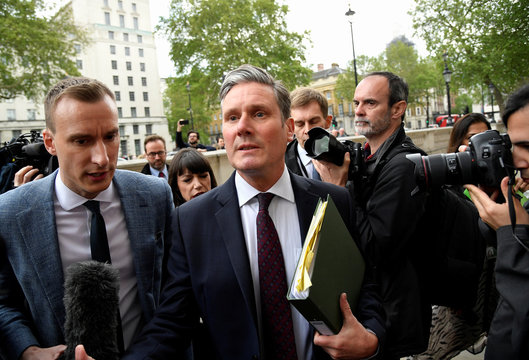 Britain's Shadow Secretary of State for Departing the European Union Kier Starmer arrives at Cabinet Office in London