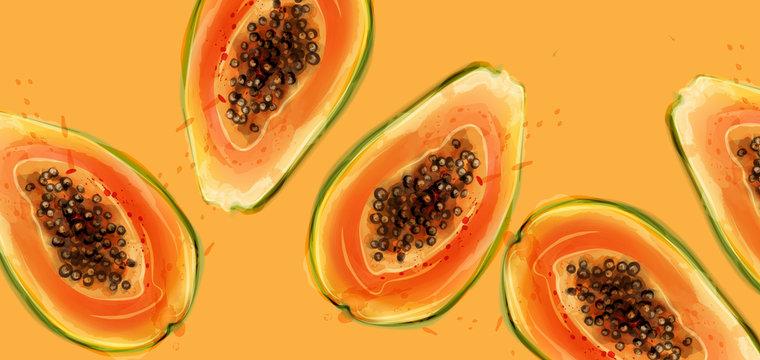 Papaya fruits Vector watercolor. Summer fresh juicy banners