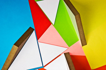 3d geometric figures on bright backgrounds