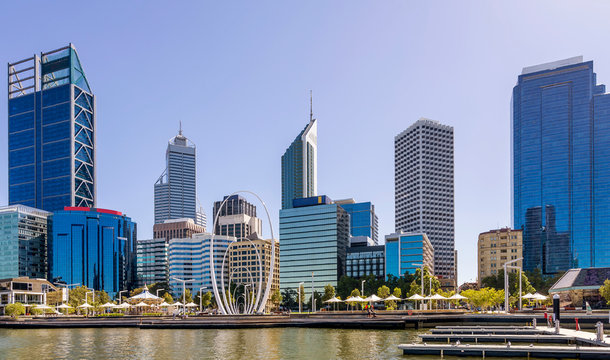 Beautiful view of the center of Perth, Western Australia, on a sunny day