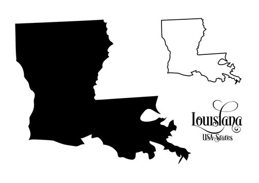 Map of The United States of America (USA) State of Louisiana - Illustration on White Background.