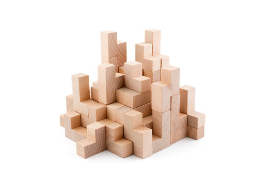 Wooden blocks isolated on white background with clipping path