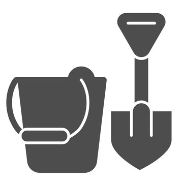 Toys for sandbox solid icon. Baby bucket and shovel vector illustration isolated on white. Kid toy glyph style design, designed for web and app. Eps 10.