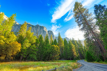 Yosemite Valley. Magnificent national American natural park - Yosemite.
