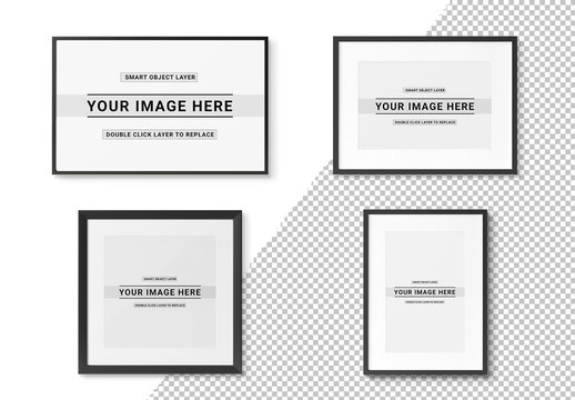 4 Isolated Frames with Shadows Mockup Set