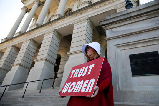 "Michelle Disher protests state's anti-abortion ""heartbeat"" bill at Georgia State Capitol in Atlanta"