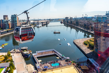 Emirates Air Line cable cars on thames river in London, UK Wall mural